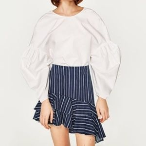 ZARA TRF Striped Denim Skirt With Ruffles